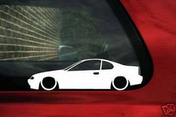 2x LOW Honda Prelude 2.2 Vtec VTi BB1 JDM outline silhouette stickers, decals